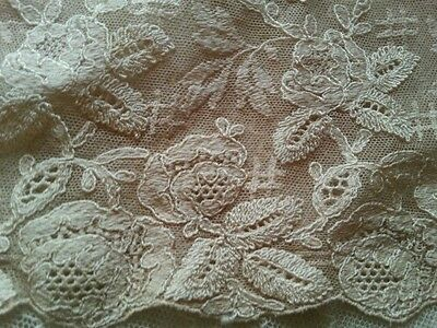 Antique Schiffli Silk Lace Remnant for Crafters Repair Sewing French Dolls