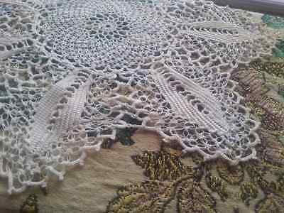 "12"" Antique Doily Silky Lace Linen & Lace Beautiful Silky Ivory"