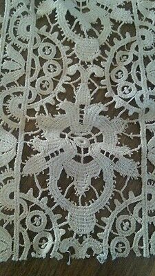 "8"" Antique Chemical Lace Art Nouveau Remnant Sample"