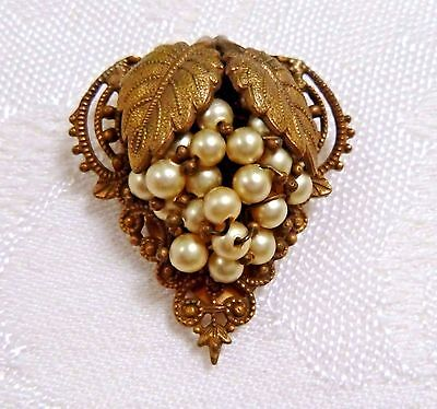 Fabulous Multi-Layered Dress Clip Pearl-Grape Cluster Filigree-Wired