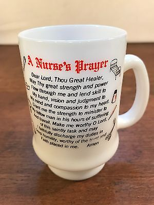 Vintage Nurse's Prayer Milk Glass Tall Coffee Mug Cup (C3)