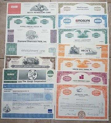 50 Stock Certificates PLUS SPECIAL BONUS - Great Wholesale or Collectors Lot!