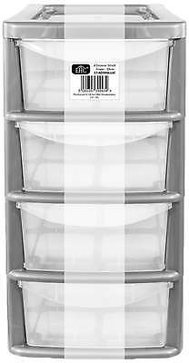 EHC Small 4-Drawer Tower Plastic Storage Unit, Silver