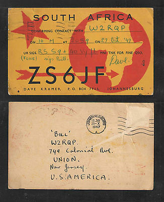 1947 Zs6Jf Qsl Card Johannesburg South Africa Postally Used