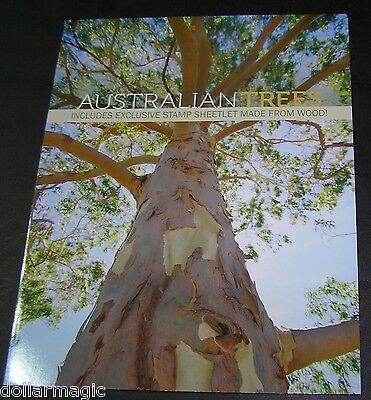 Hard To Find 2015 Australian Trees Stamp Album 2Sheetlets paper Real Timber Wood