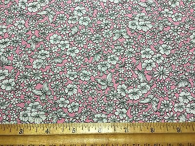 Vintage Cotton Fabric 40s50s PRETTY White Daisies Butterflies NOVELTY 35w 1yd