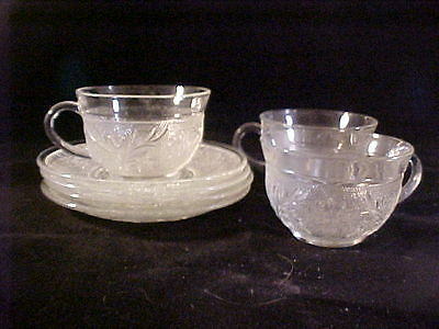 Vint Anchor Hocking Crystal Sandwich 4 Saucers & 3 Cups