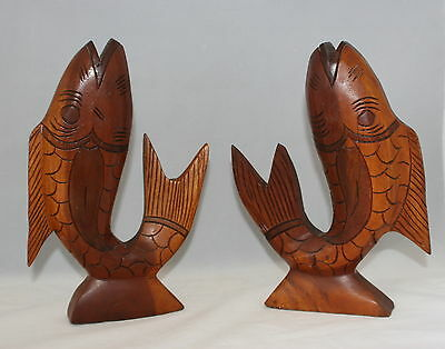 Vintage Hand Carved Hardwood / Ironwood Jumping Carp Koi Figures Set of 2