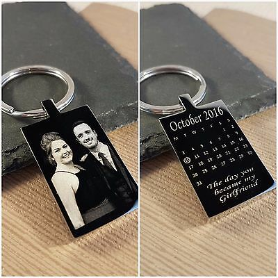 Personalised engraved keyring Calendar gift, Baby Birthday, Wedding, Fathers Day
