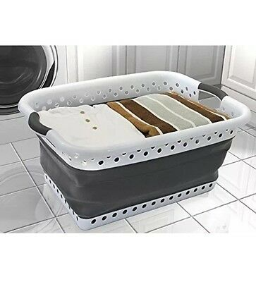 Vanderbilt Home PL5202 Pop And Load Laundry Basket, Small, White/Gray