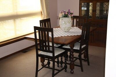 Antique Jacobean Extension Table and 4 Chairs