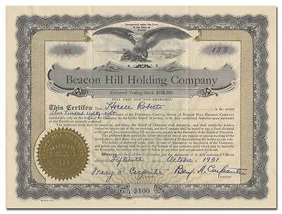 Beacon Hill Holding Company Stock Certificate