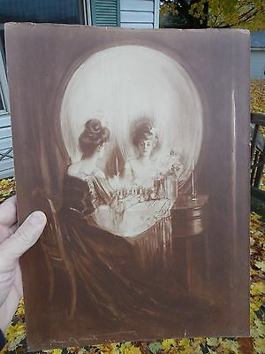 ORIGINAL c1902  'ALL IS VANITY' LITHOGRAPH BY C. ALLAN GILBERT 1873 - 1929 RARE