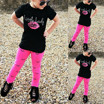 1-6Year Baby Girls Outfits Short Sleeve T-shirt Tops +Leggings Pants Clothes Set