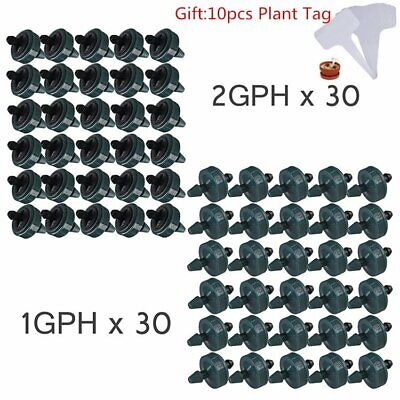for Use with Hydroponics//Irrigation Tubing 1//2, 3//4, 1 100-PACK Insert Into Main line 1GPH Single Outlet PC Button Drip Emitter with Barbed Inlet or 1//4 Distribution Tube