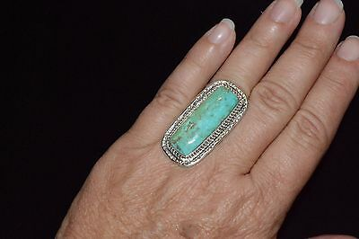 Ring Native American Turquoise Kingman Turquoise Sterling Navajo C Bowie 7 1/2