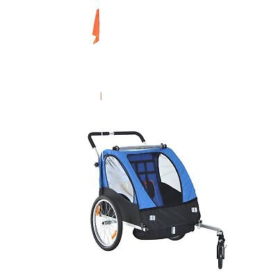 2-in-1 Portable Bicycle Trailer Child Kids Canopy Camp Shield Double Carrier
