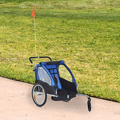 Aosom 2-in-1 Portable Kids Bicycle Trailer Canopy Shield Double Carrier 2 Seats