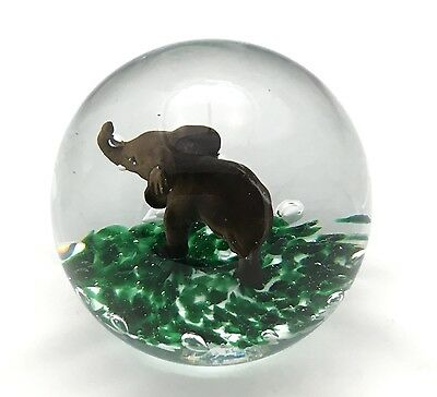 1988 Huge  Gibson Glass Magnum Size Elephant Sulphide Paperweight