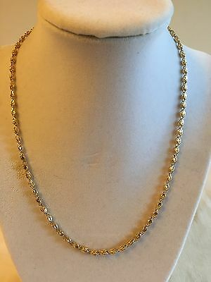 Estate 14K Yellow Gold Fancy Beaded Link Chain Necklace Faceted Filigree 18""