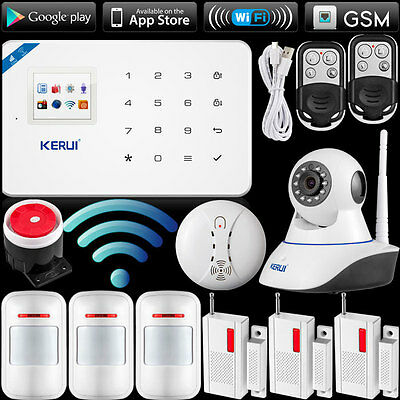 2017 WIFI 2G GSM APP Home Alarm System Security,720P WiFi IP Camera