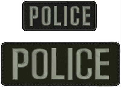 POLICE embroidery patch  3x8 2x5 hook grey letters