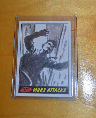 Mars Attacks Brett Farr Sketch Card 2012 Topps 1 Of 1 With Signature