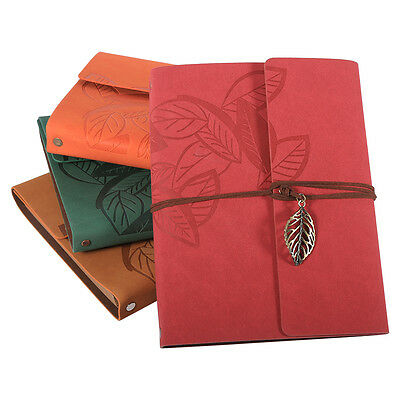 Leaf Type Kraft Paper Cardboard Notebook Retro Photo Album Leather Cover Book HG
