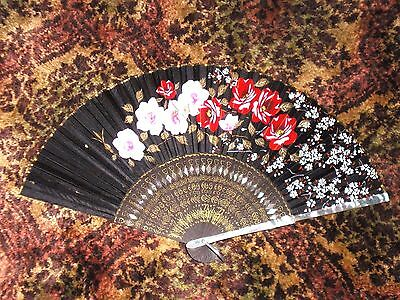 Wonderful Old Black Silk Japanese Fan w/ Hand Painted Flowers & Mother of Pearl
