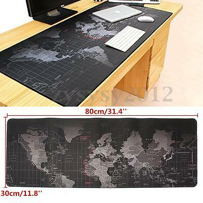 80x30CM Tapis de Souris Clavier Carte Monde Gaming Mousepad Ordinateur PC