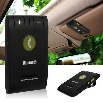 Bluetooth 4.0 Slim Magnetic Wireless Handsfree Car Kit Speaker Visor Clip MA361