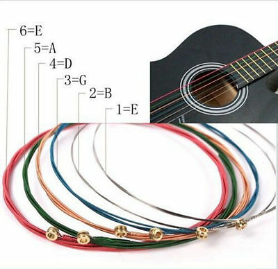 6pcs For One Set Rainbow Colorful Color Strings Acoustic Guitar Accessory Hot