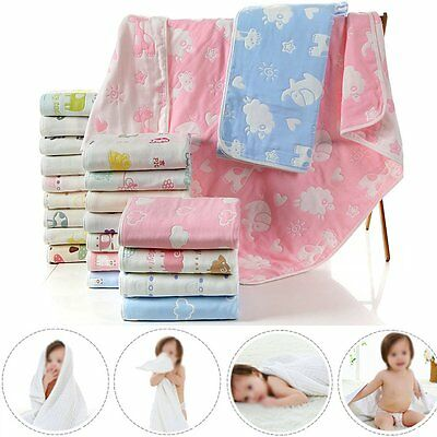 6 Layer Baby Kids Toddler Newborn Receiving Blanket Swaddle Bath Towel Washcloth