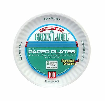 Green Label 6 in. Party Supplies White Uncoated Round Paper Plates (1000-Pieces)