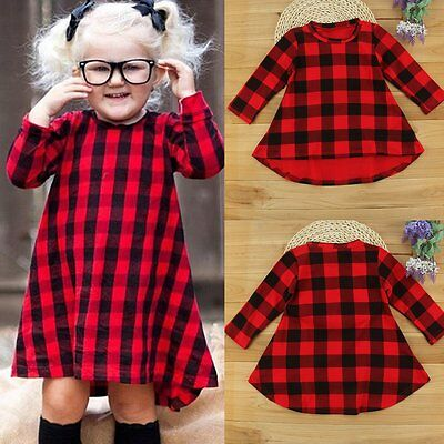 Toddler Kids Baby Girls Plaid Dress Long Sleeve Party Princess Dresses Clothes