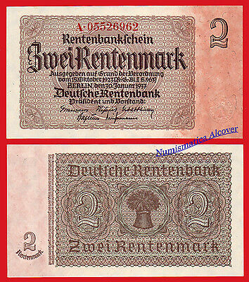 ALEMANIA GERMANY 2 Rentenmark 1937 Pick 174b   SC / UNC