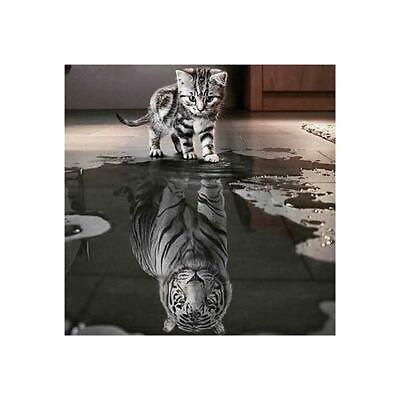 Cat and Tiger DIY 5D Diamond Embroidery Painting Cross Stitch Home Decor Craft