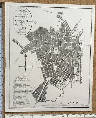 "Old Antique map of Sheffield, England: 1700's, 1797 11.5 x 9.5"": Reprint"