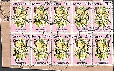 Kenya 1988 20/- Butterfly x 10 on Commercial Parcel Piece
