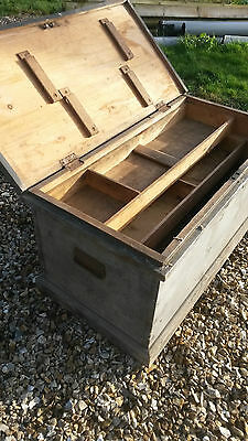 Large Antique Victorian Pine Carpenters Tool Chest, Trunk For Shabby Chic