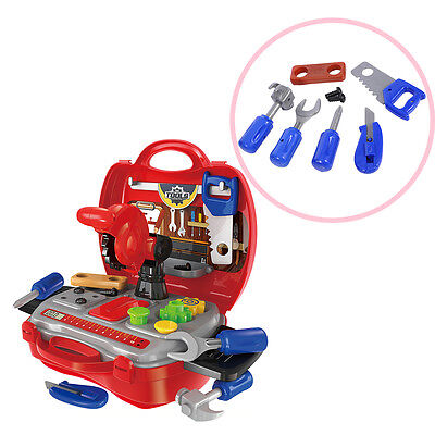 Children Kids Repair Tools Toy Set Pretend Play Tool Kit with Red Suitcase Gift