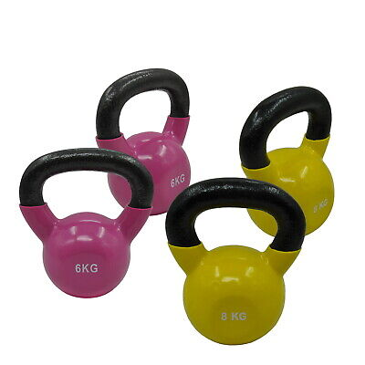 6KG x 2 + 8KG x 2 - TOTAL 28KG IRON VINYL KETTLEBELL WEIGHT - STRENGTH TRAINING