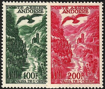 Andorra (French) 1955 100f and 200f Air Mail High Values MH