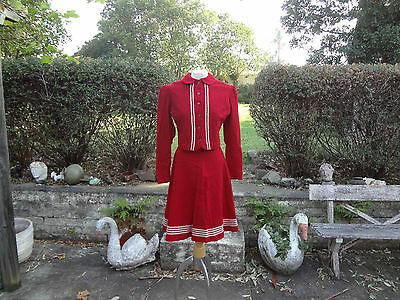 Vintage mid century 50s red white suit skirt jacket novelty wool pin up 50s 40s
