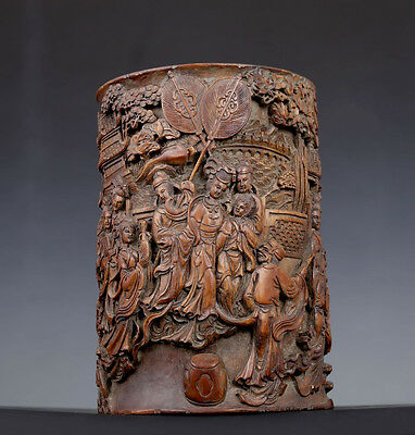 Antique Chinese Qing Dynasty High Relief Bamboo Carving Brush Pot Marks