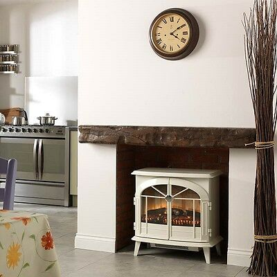 Electric Vintage Stove Fireplace Real Fire Flame Effect Heater Cream 2Kw Dimplex