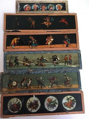Vintage Magic Lantern Glass Slides Lot Of 6 Society Occupation Misc Sold As Is