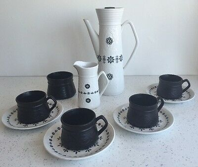 Vintage/Retro Wood and Sons Normandy Ellgreave Black White Coffee Set
