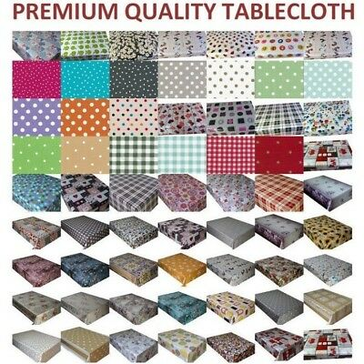 PVC OILCLOTH VINYL TABLECLOTH  Wipe Clean  Dining Kitchen Garden Lots of Design