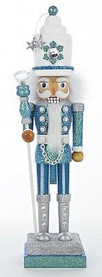 Hollywood Collection Turquoise and White Nutcracker Christmas Holiday Figurine